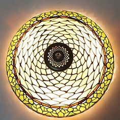 16Inch European Retro Style Tiffany Stained Glass Flush Mount Ceiling Light Dining Room Light *** Continue to the product at the image link.