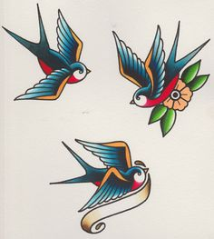 How to Draw a Group of Swallows in a Retro Tattoo Style tattoos Rose Tattoos, Arm Tattoos, Flower Tattoos, Body Art Tattoos, Sleeve Tattoos, Tatoos, Temporary Tattoos, Tattoo Thigh, Shaded Tattoos