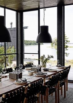 A House in the Nature – in Finland – A Frame for Life Lakeside Cottage, Cozy Cottage, Cottage Homes, Inside A House, Haus Am See, Interior Architecture, Interior And Exterior, Property Design, Pole Barn Homes