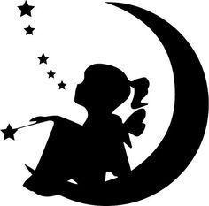 kid on moon silhouette Fairy Silhouette, Silhouette Images, Silhouette Portrait, Silhouette Design, Black Silhouette, Silhouette Vector, Fairy Templates, Fairy Lanterns, Fairy Jars