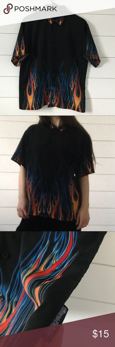 Silverpoint flame button up shirt Super rad flame button up shirt. No tags but will can fit a S-M depending on the fit you want. Tops Button Down Shirts