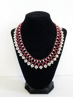 pearl bead necklace beaded woven netted pink by sweetpeasugarart, $75.00
