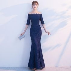 Navy Blue Mermaid Evening Dresses Long Elegant Boat Neck With Sleeves – 49 Dresses Long Gown Elegant, Dresses Elegant, Dresses Short, Trendy Dresses, Fashion Dresses, Long Evening Gowns, Mermaid Evening Dresses, Indian Dresses Traditional, Boat Neck Dress