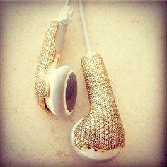 fone de ouvido dourado !