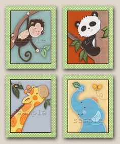 Set of four 8x10 Jungle animal and panda by LittlePigStudios