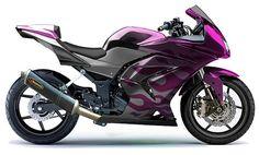Kawasaki Ninja 250 Purple Flame Paint Job