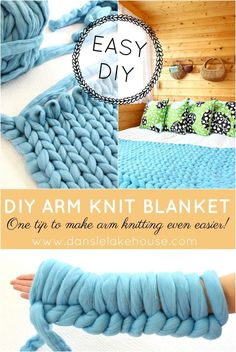 Learn how to arm knit and make an easy chunky knit throw. Great tips and tricks for making arm knitting easier - anyone can do it! Great fall crafting project to stay cozy when the weather gets cold. Chunky Knit Throw, Chunky Blanket, Knitting Projects, Knitting Patterns, Knitting Ideas, Arm Knitting Tutorial, Knitting Designs, Hand Knit Blanket, Wool Blanket