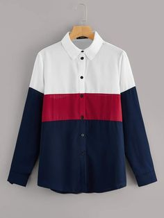 To find out about the Button Front Color Block Shirt at SHEIN, part of our latest Blouses ready to shop online today! Collar Blouse, Collar Shirts, Men Shirts, Shirt Blouses, Spring Shirts, Types Of Sleeves, Shirt Sleeves, Types Of Shirts, Color Blocking