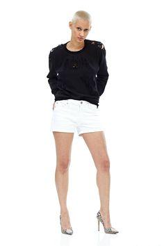 Hudson Asha Midrise Cuffed Short in White - Bella Funk Boutique