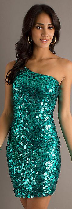 Fashion mini dress #teal #sexy #glitter could make gorgeous bridesmaid dresses **