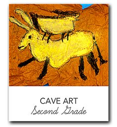 Video and lesson plan that shows kids how to draw and  color a prehistoric cave painting