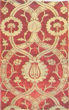 Slightly wavy vertical vines with flowers - especially tulips and carnations - are also popular. The famous Ottoman fabrics were made chiefly of silk, and were constructed in a variety of complex weaves, such as brocade, velvet and voided velvet, lampas, damask, and more.