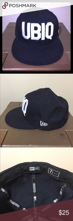 UBIQ New Era Fitted Hat sz 7 3/8 UBIQ New Era Fitted Hat sz 7 3/8 Navy Blue UBIQ Accessories Hats