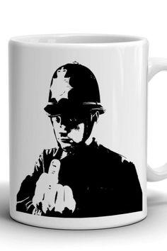 Boyfriend Gift/Banksy mug/Сoffee mug/Work mug/Office mug/Banksy print/Best gift/Birthday gift/Present/Stylish coffee mug/For Him/Policeman Mug Crafts, Banksy, Boyfriend Gifts, Different Colors, No Response, Birthday Gifts, Coffee Mugs, Print Design, Best Gifts