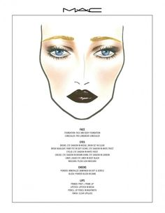 "MAC's face chart for ""The Great Gatsby"""