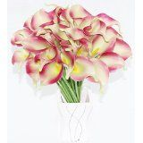 Simpleyourstyle Calla Lily Artificial Flower 40pcs Box Package No Vase Bridal Wedding Bouquet 40 Head Latex Real Touch Flower Bouquets (Pink Around Gr