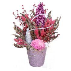 Rózsaszín asztaldísz zergeszarvval - Szárazvirág díszek webáruháza Plants, Plant, Planets