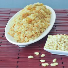 saffron rice with golden raisins and pine nuts More