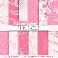 """Pink digital paper: """"PINK SWIRLS"""" with pink swirls, swooshes and flourishes, polkadots, lines, floral lines and girly curly elements #etsy #texture"""