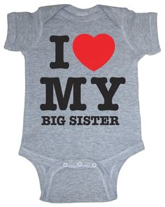 So Relative! I Love My Big Sister (Red Heart) Heather Grey Baby Infant Short Sleeve Bodysuit Creeper, (big sister shirt, big sister shirts, big sister t-shirt, big sister, i love my shirt, onesie)