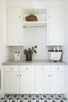 Patterned Tile Laundry Room