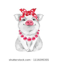 Find Funny Pig Wearing Bandana Isolated On stock images in HD and millions of other royalty-free stock photos, illustrations and vectors in the Shutterstock collection. Cartoon Drawings Of Animals, Funny Drawings, Pig Drawing, Drawing Ideas, Pig Illustration, Watercolor Illustration, Illustration Fashion, Illustrations, Funny Animals