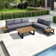 ART TO REAL Aluminum Outdoor Furniture Sectional Sofa Set with Cushions and Coffee Table, Set of 9 All Weatherproof Corner Sofa Couch Set