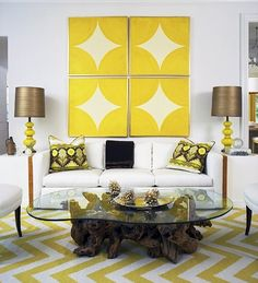 Neutral with pop of yellow with pattern