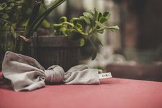 Knotted, oversized, natural linen napkins.