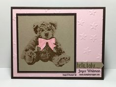 Baby Bear in pink from Stampin' Up!  A perfect card to welcome a new baby into this world!