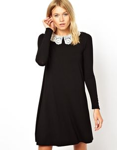 ASOS Swing Dress With Crochet Collar And Long Sleeves, my new dress I love wish I had ten of them to replace each other.