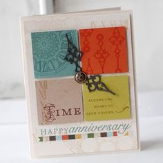 This needs a little tweaking...but I like the idea of using my clock stamps with an anniversary theme.