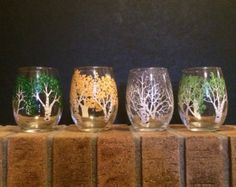 Winter tree with red cardinal wine glasses by 4SeasonsArt4You