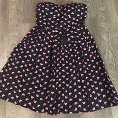 Flirty strapless dress. Cute black strapless dress with pink birds and white dots. Worn once, still in perfect condition. Macy's Dresses Strapless