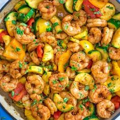 This Easy Shrimp and Vegetable Skillet makes a healthy quick and delicious dinner! Packed with wild-caught shrimp tender zucchini and sweet bell peppers it is going to become your favorite seafood dish! Salmon Recipes, Fish Recipes, Chicken Recipes, Healthy Chicken, Steak Recipes, Potato Recipes, Vegetable Recipes, Shrimp And Vegetables, Cooking Recipes