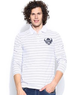 Dream of Glory Inc. White Striped Polo T-shirt