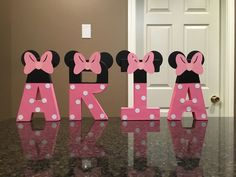 Minnie Mouse Custom Name Letters price is per letter Minnie Mouse Table, Minnie Mouse Bedding, Minnie Mouse Birthday Decorations, Minnie Mouse Theme Party, Mickey Mouse Clubhouse Birthday, Minnie Mouse Pink, Minnie Birthday, Mouse Parties, 2nd Birthday Parties