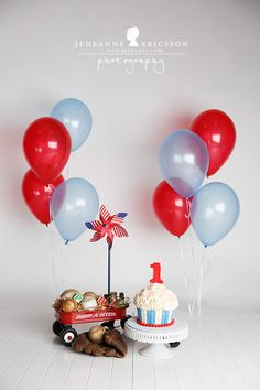 P is one! Sonoma County Cake Smash First Birthday Photographer » Jeneanne Ericsson Photography red wagon theme red,white, and blue giant cupcake