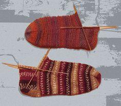 kärjestä aloitetulle sukalle kaksi erilaista kantapäätä