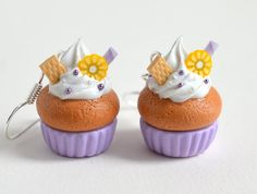 Kawaii Pastel Purple Cupcake Earrings by Ashito on Etsy, $10.00