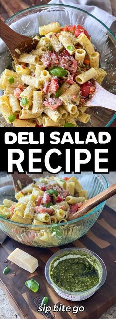 Try this Deli salad recipe with tomatoes, pesto, red onion and white wine vinegar. | sipbitego.com #sipbitego #focaccia #focacciabread #Italian #focacciarecipe #breadrecipe #focaccia #focacciabreakfastsandwich #breakfastsandwich #eggs #bacon #brunch