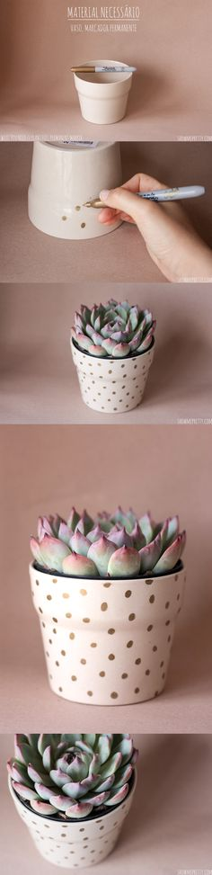 Sweet and simple DIY: Show me Pretty / Home projects / DIY dotted pot plant #pin_it @mundodascasas