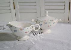 Vintage Harmony House Monticello Sugar Bowl and Creamer Set Hall Floral Design USA PanchosPorch