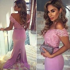 Elegant off-the-shoulder mermaid long lilac prom dress evening dress