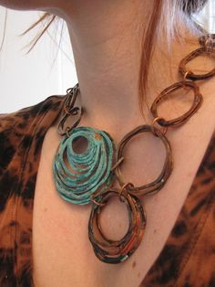 Patina copper necklace Oxidized Copper Bunches by jamiespinello on etsy