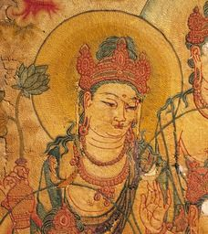 """Kajû-ji -Embroidery on SIlk. 8th C. detail of #Sakyamuni Preaching the #LotusSutra.(likely #Chinese Tang Dynasty. Nara National Museum"