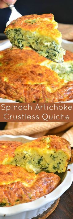 This crustless quiche is made with fresh spinach, artichoke hearts and lots of cheese. This crustless quiche is made with fresh spinach, artichoke hearts and lots of cheese. Egg Recipes, Brunch Recipes, Cooking Recipes, Free Recipes, Dessert Recipes, Recipes Dinner, Gourmet Recipes, Vegetable Recipes, Breakfast