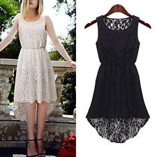 New Women's Fashion Casual Lace Sleeveless Slim Party Cocktail Evening Dress