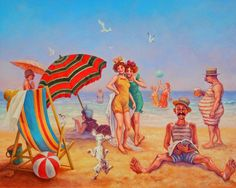 Solve On the Beach jigsaw puzzle online with 143 pieces Missing Piece, Old Paintings, Royal House, Beach Art, Large White, Sunny Days, Jigsaw Puzzles, Sculptures, Illustration Art