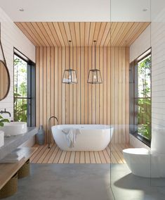 The wood panelling on our Sydney bathroom project adds warmth and texture to this luxe design.